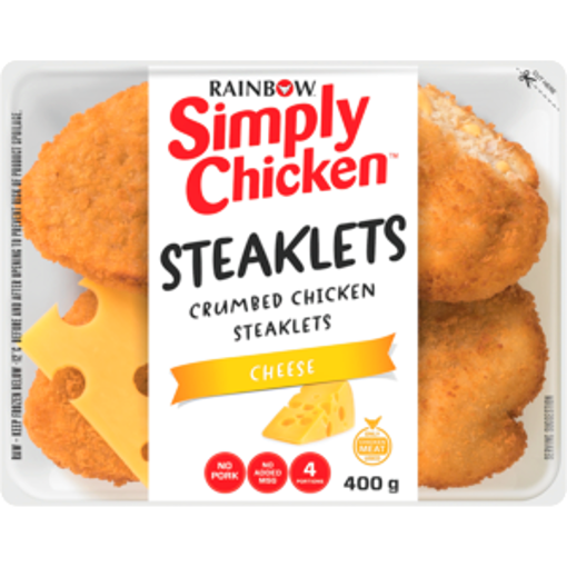 Picture of Rainbow Simply Chicken Crumbed Chicken Cheese Steaklets 400g
