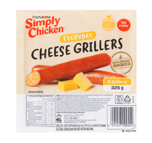 Picture of Rainbow Simply Chicken Cheese Grillers 325g