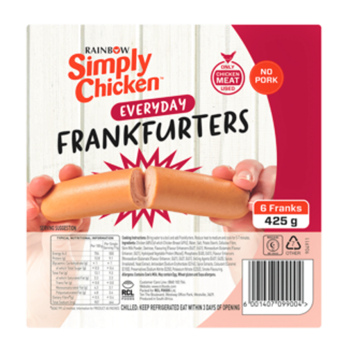 Picture of Rainbow Simply Chicken Everyday Frankfurters 425g