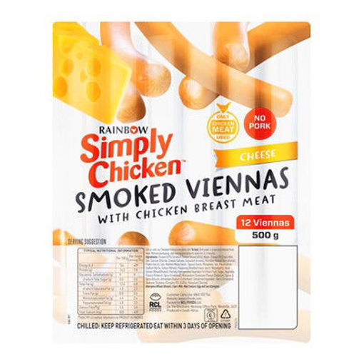 Picture of Rainbow Simply Chicken Cheese Viennas 500g
